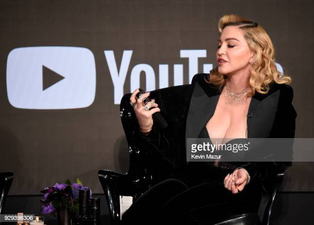 Madonna onstage at MDNA SKIN hosts Madonna and Kim Kardashian West for a beauty conversation at YouTube Space LA on March 6 2018 in Los Angeles...
