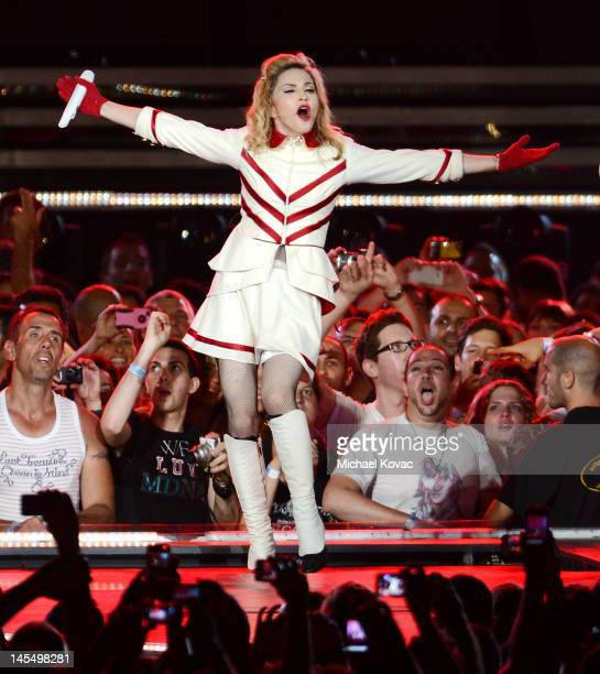 """Madonna opens her world tour """"MDNA"""" on May 31, 2012 in Tel Aviv, Israel."""