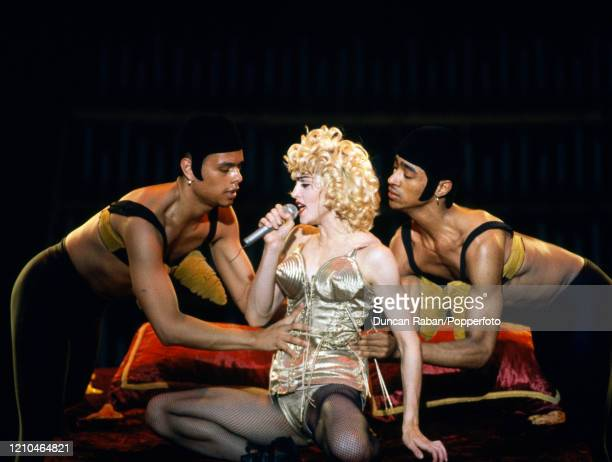 Madonna performing during her Blond Ambition World Tour at Wembley Stadium in London, England on July 21, 1990. This was Madonna's third concert tour...