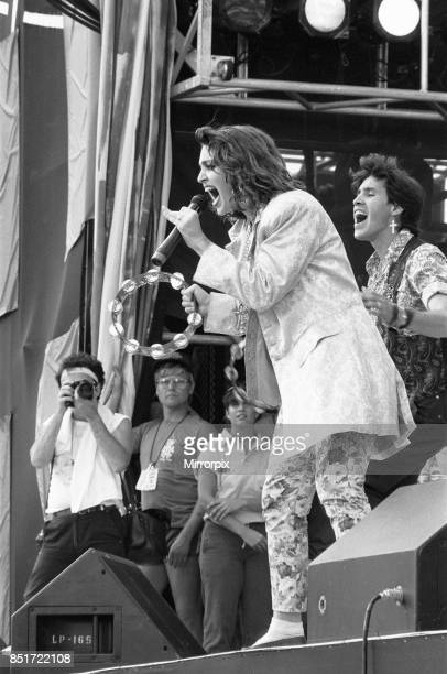 Madonna performing on stage at the John F Kennedy Stadium Philadelphia during the Live Aid Concert 13th July 1985