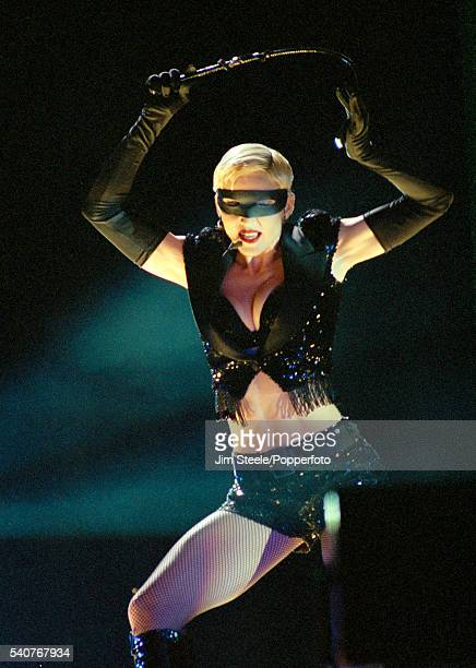 Madonna performing on stage at Wembley Stadium in London on the 25th September 1993