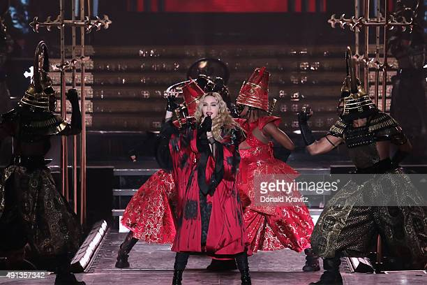 Madonna performs at Boardwalk Hall Arena on October 3, 2015 in Atlantic City, New Jersey.