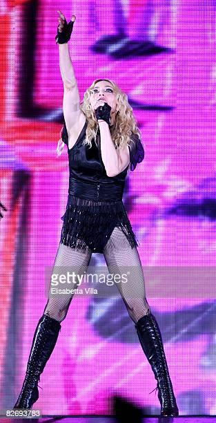 """Madonna performs at during her """"Sticky and Sweet"""" world tour at Olympic Stadium on September 6, 2008 in Rome, Italy."""