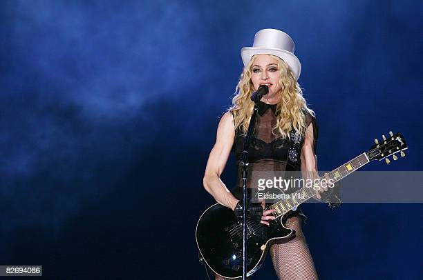 Madonna performs at during her Sticky and Sweet world tour at Olympic Stadium on September 6 2008 in Rome Italy