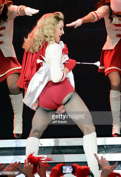 Madonna performs at Staples Center on October 10, 2012 in Los Angeles, California.