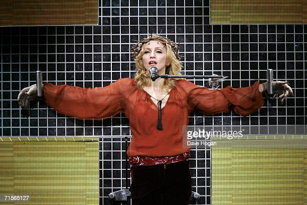 Madonna performs at the first London concert of her Confessions world tour at Wembley Arena August 1 2006 in London England