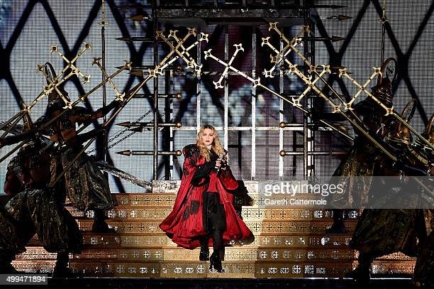 Madonna performs at the O2 as part of her 'Rebel Heart' world tour at The O2 Arena on December 1 2015 in London England