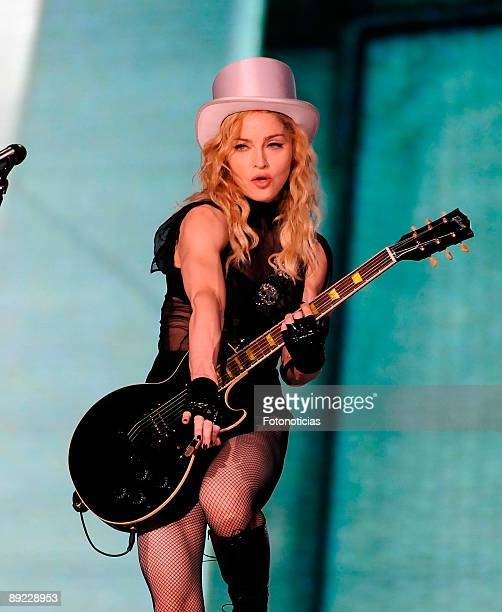Madonna performs at Vicente Calderon Stadium as part of her 'Sticky and Sweet' world tour on July 23 2009 in Madrid Spain