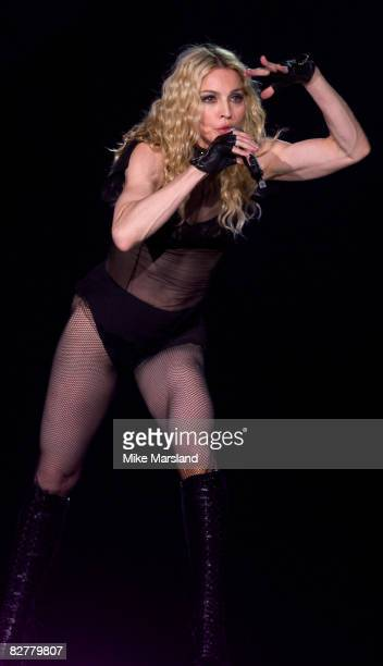Madonna performs At Wembley Arena on September 11, 2008 in London.