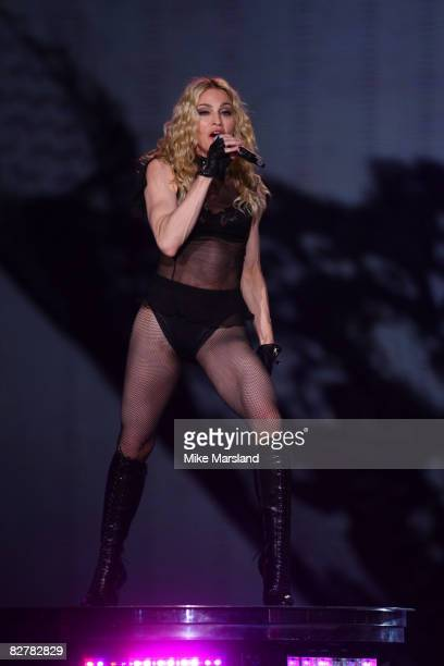 Madonna performs at Wembley Arena on September 11, 2008 in London, England.