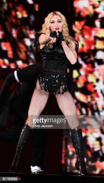 Madonna performs at Wembley Stadium during her ''Sticky and Sweet'' Tour on September 11, 2008 in London, England.