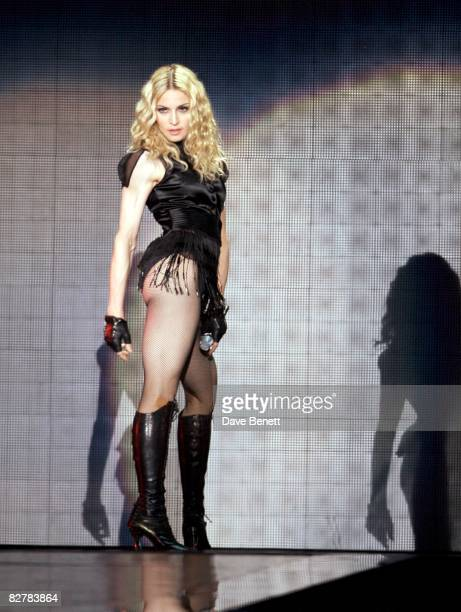 Madonna performs at Wembley Stadium during the Sticky and Sweet tour on September 11 2008 in London England