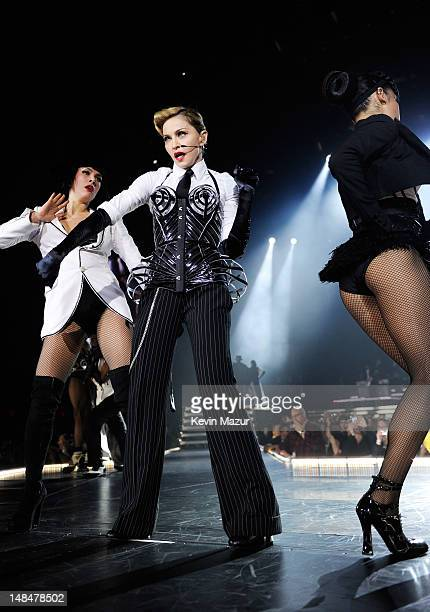 Madonna performs during her MDNA Tour at Hyde Park on July 17, 2012 in London, England.