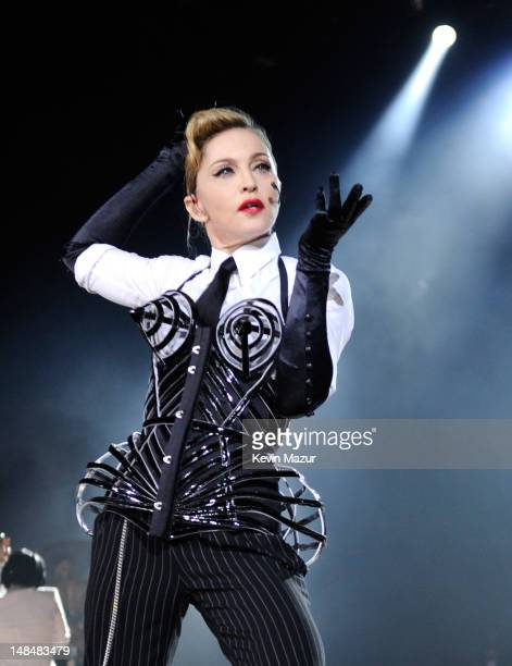Madonna performs during her MDNA Tour at Hyde Park on July 17 2012 in London England