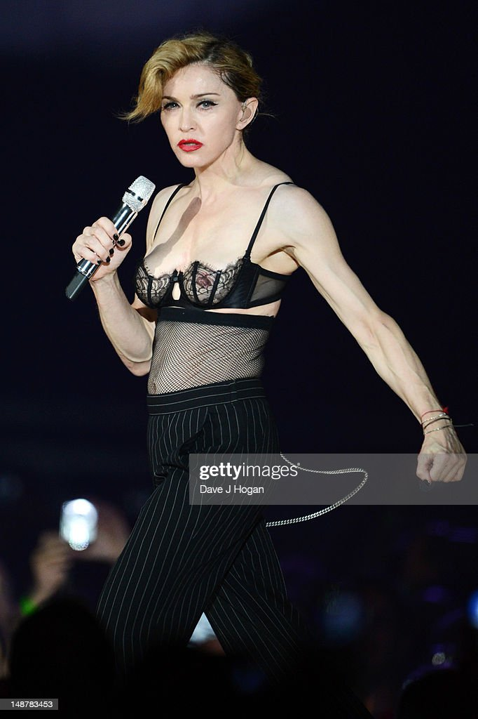 Madonna performs during her MDNA Tour at The NIA Arena on July 19, 2012 in Birmingham, England.