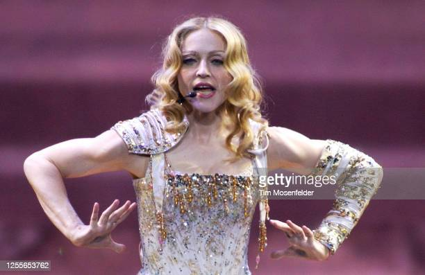 """Madonna performs during her """"Re-Invention"""" tour at HP Pavilion on June 6, 2004 in San Jose, California."""