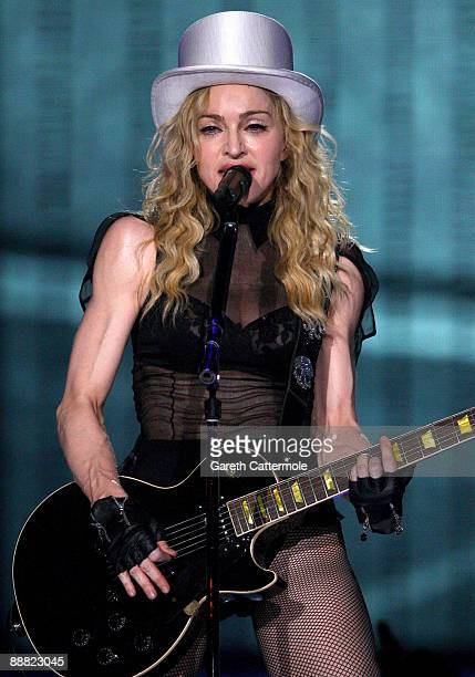 Madonna performs during her Sticky And Sweet Tour at The O2 on July 4 2009 in London England