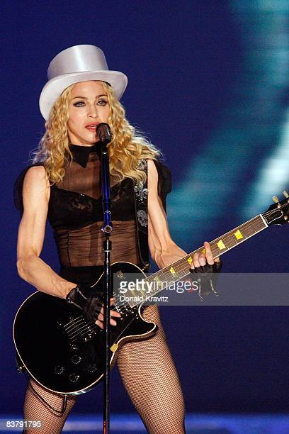 Madonna performs during her 'Sticky Sweet' tour at Boardwalk Hall on November 22 2008 in Atlantic City New Jersey