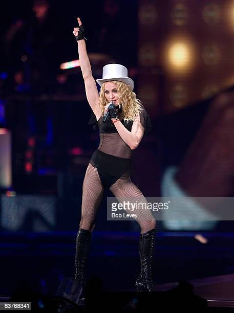 Madonna performs during her 'Sticky Sweet' Tour at Minute Maid Park on November 16 2008 in Houston Texas