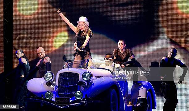 """Madonna performs during her """"Sticky & Sweet"""" Tour at Minute Maid Park on November 16, 2008 in Houston , Texas."""