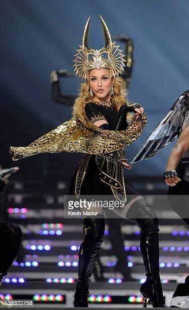Madonna performs during the Bridgestone Super Bowl XLVI Halftime Show at Lucas Oil Stadium on February 5, 2012 in Indianapolis, Indiana.