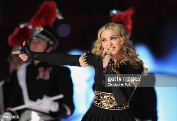 Madonna performs during the Bridgestone Super Bowl XLVI Halftime Show at Lucas Oil Stadium on February 5 2012 in Indianapolis Indiana