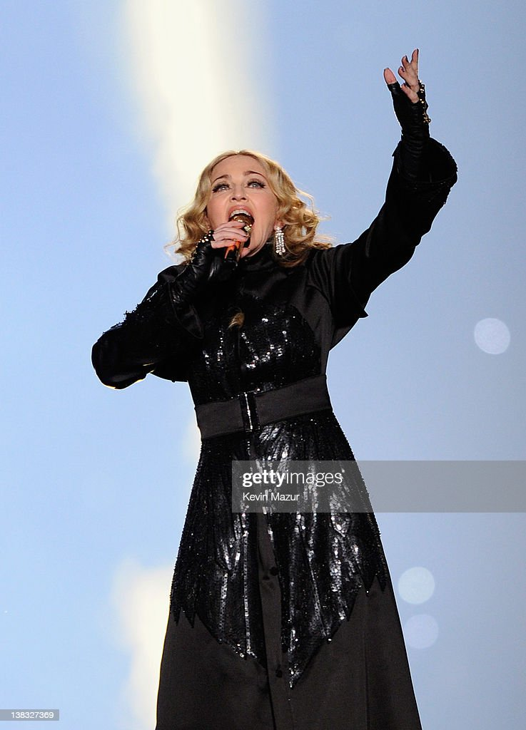 Madonna performs during the Bridgestone Super Bowl XLVI Halftime Show at Lucas Oil Stadium on February 5, 2012 in Indianapolis, Indiana.