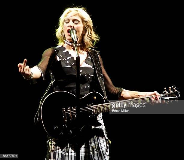 Madonna performs during the first of two soldout shows at the MGM Grand Garden Arena during her Drowned World Tour September 1 2001 in Las Vegas...
