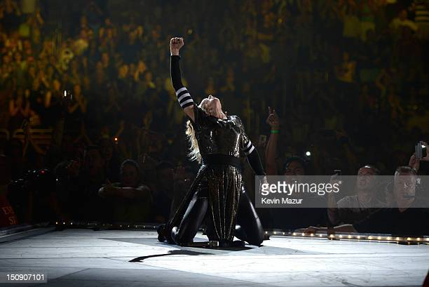 Madonna performs during the MDNA North America tour opener at the Wells Fargo Center on August 28, 2012 in Philadelphia, Pennsylvania.