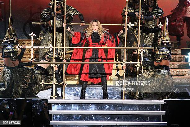 Madonna performs during the 'Rebel Heart Tour' at Coliseo Jose M Agrelot on January 27 2016 in San Juan Puerto Rico