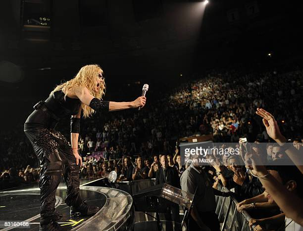 Madonna performs during the 'Sticky Sweet' tour at Madison Square Garden on October 6 2008 in New York City