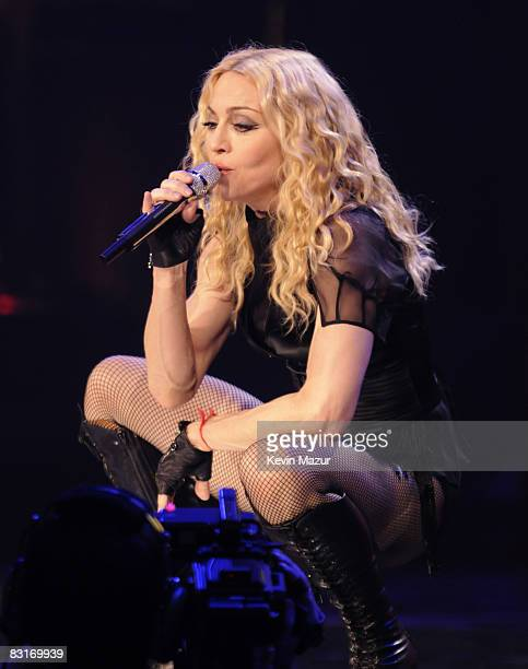Madonna performs during the 'Sticky Sweet' tour at Madison Square Garden on October 7 2008 in New York City
