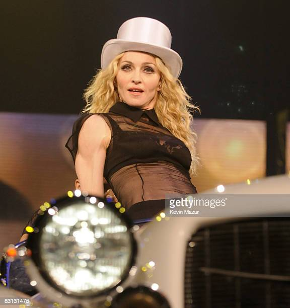 """Madonna performs during the """"Sticky & Sweet"""" tour at the IZOD Center on October 4, 2008 in East Rutherford, New Jersey."""