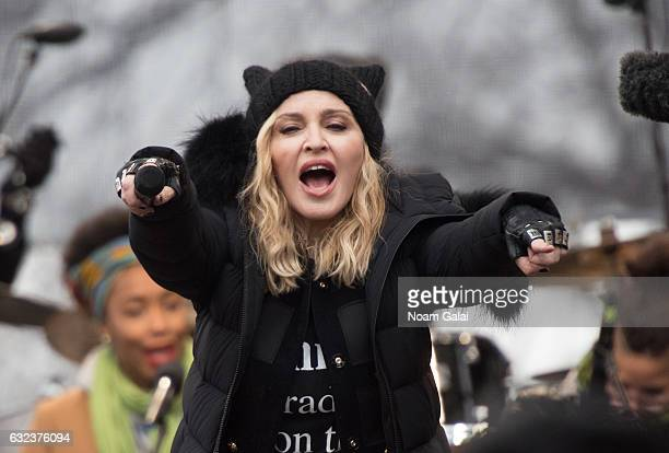 Madonna performs during the Women's March on Washington on January 21 2017 in Washington DC