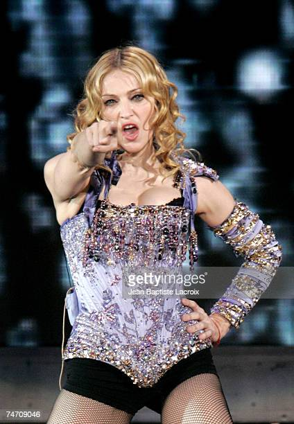 Madonna performs in the ReInvention World Tour at the Bercy in Paris France