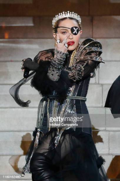 Madonna performs live on stage after the 64th annual Eurovision Song Contest held at Tel Aviv Fairgrounds on May 18 2019 in Tel Aviv Israel