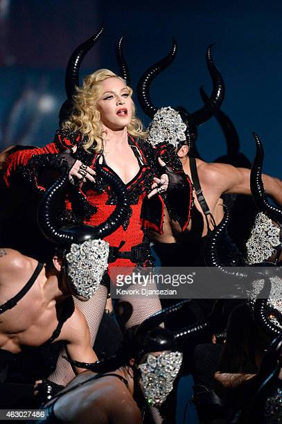 """Madonna performs """"Living for Love"""" onstage during The 57th Annual GRAMMY Awards at the at the STAPLES Center on February 8, 2015 in Los Angeles,..."""