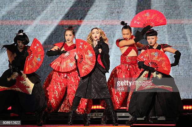 Madonna performs on stage as she holds 'Rebel Heart Tour' at Taipei Arena on February 6, 2016 in Taipei, Taiwan of China.