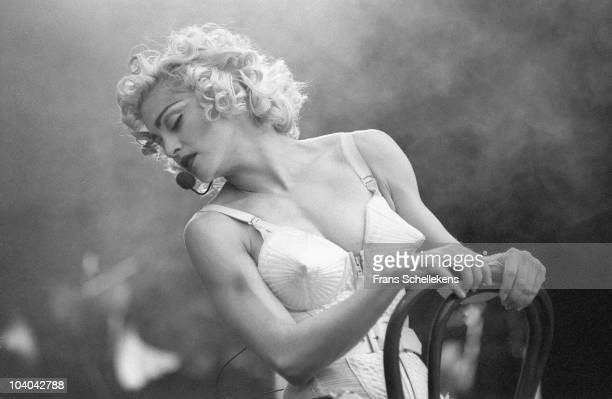 Madonna performs on stage at Feijenoord Stadium on July 24 1990 in Rotterdam Netherlands