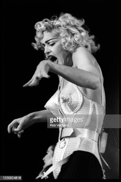 Madonna performs on stage at Feyenoord Stadium de Kuip Rotterdam Netherlands on the Blond Ambition World Tour 24th July 1990