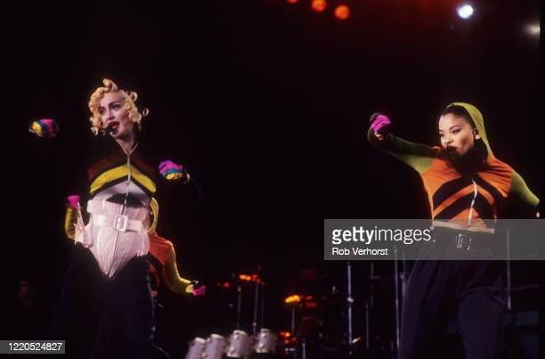 Madonna performs on stage at Feyenoord Stadium, de Kuip, Rotterdam, Netherlands on the Blond Ambition World Tour, 24th July 1990.