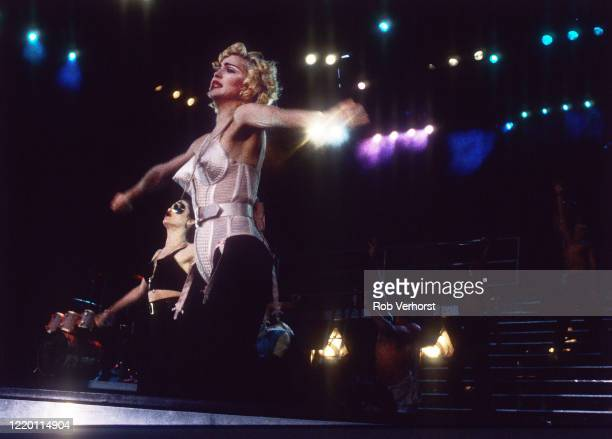 Madonna performs on stage at Feyenoord Stadium, Kuip, Rotterdam, Netherlands on the Blond Ambition World Tour, 24th July 1990.
