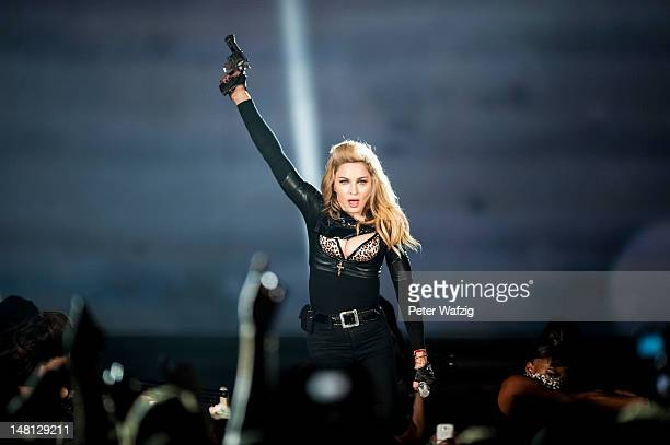 Madonna performs on stage at the Lanxess Arena on July 10 2012 in Cologne Germany