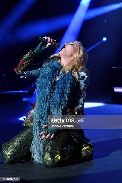 Madonna performs on stage at the Leonardo DiCaprio Foundation 4th Annual SaintTropez Gala at Domaine Bertaud Belieu on July 26 2017 in SaintTropez...