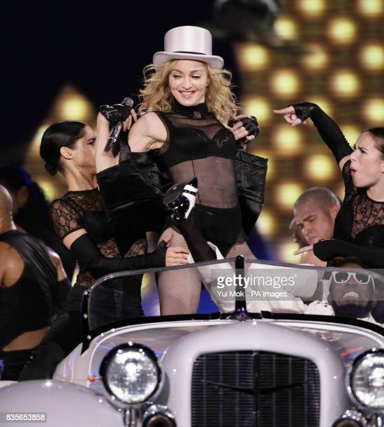 Madonna performs on stage at the O2 Arena in London on the first night of her Sticky Sweet tour