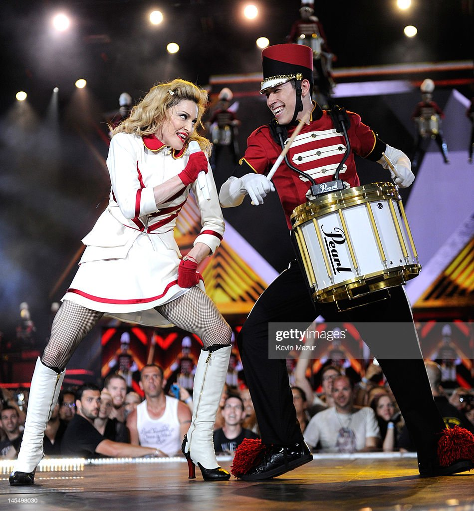 Madonna performs on stage during her 'MDNA' tour at Ramat Gan Stadium on May 31, 2012 in Tel Aviv, Israel.