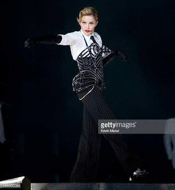 Madonna performs on stage during her 'MDNA' tour at Ramat Gan Stadium on May 31 2012 in Tel Aviv Israel