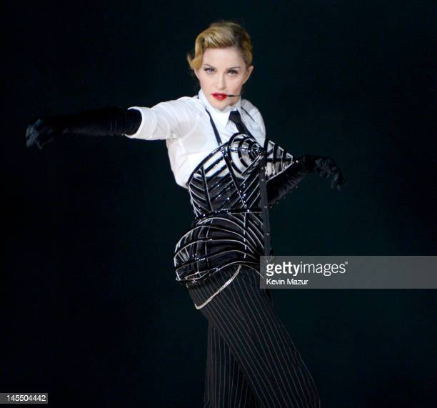 """Madonna performs on stage during her """"MDNA"""" tour at Ramat Gan Stadium on May 31, 2012 in Tel Aviv, Israel."""