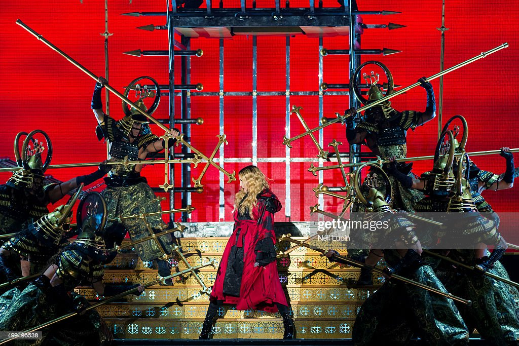 Madonna performs on stage during her 'Rebel Heart Tour' at The O2 Arena on December 1, 2015 in London, England.
