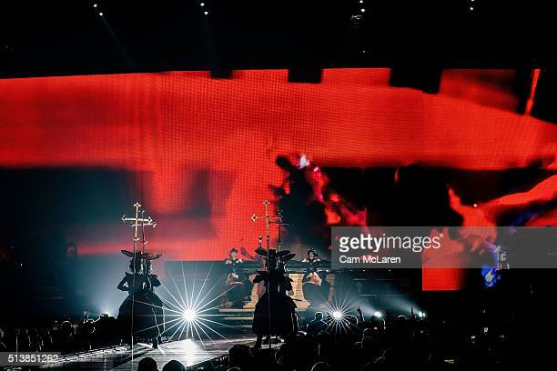 Madonna performs on stage during her 'Rebel Heart' Tour at Vector Arena on March 5 2016 in Auckland New Zealand